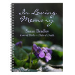 Wild Violets - Floral Photo - Memorial Guest Book Note Books