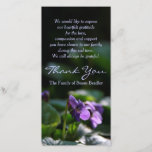 "Wild Violets Sympathy Thank You Photo Card<br><div class=""desc"">Floral photograph of wild violets. Simple,  modern and elegant. Customizable Sympathy Thank You Photo Card. You can easily change text color,  font,  size and position by clicking the personalize or customize button. ---------  Matching wild violets Sympathy Thank you note card,  postage,  Memorial guest book and label.</div>"