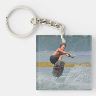 Wild Wakeboarder Single-Sided Square Acrylic Keychain