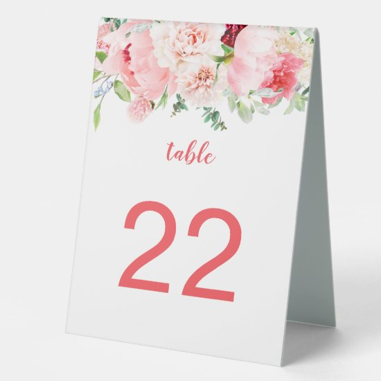 Wild Watercolor Garden Floral Table Tents Table Tent Sign