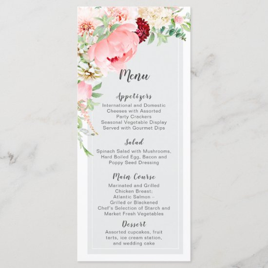 Wild Watercolor Garden Wedding | Menu