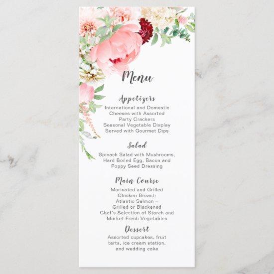 Wild Watercolor Garden Wedding | Menu