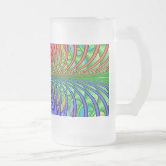 Wild Web Quad Fractal Frosted Glass Beer Mug
