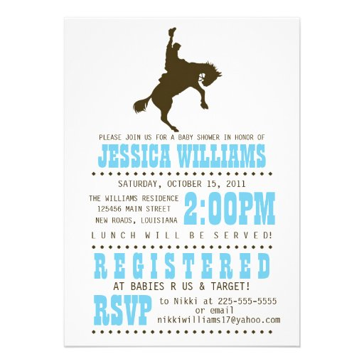 Wild West Baby Shower Personalized Announcements