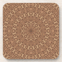 Wild West Brown Rope Kaleidoscope Beverage Coaster