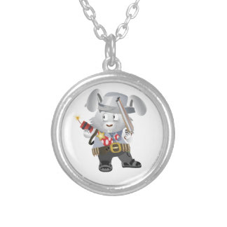 Wild West Bunny Round Pendant Necklace