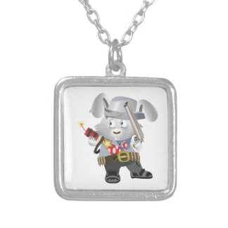 Wild West Bunny Square Pendant Necklace