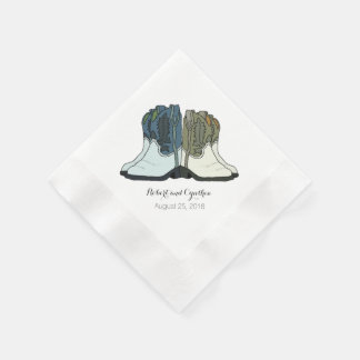 Wild West Country Cowboy Boots Wedding Napkin