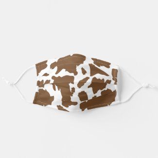 Wild West Brown Cow Hide Print Cloth Face Mask