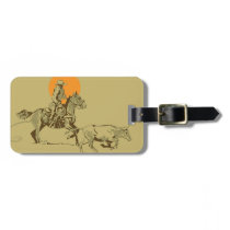 Wild West Cowboy at work Luggage Tag