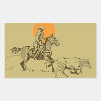 Wild West Cowboy at work Rectangular Sticker