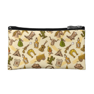 Wild west cowboy colored with guitar and cactus cosmetic bag