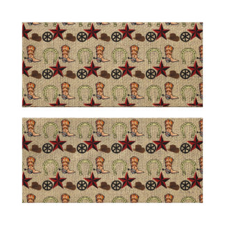 Wild West Cowboy Country Western on Burlap Pattern Canvas Print