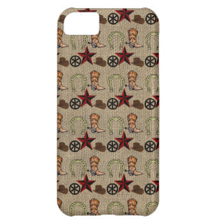 Wild West Cowboy Country Western on Burlap Pattern Cover For iPhone 5C