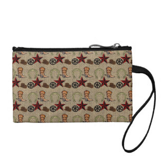 Wild West Cowboy Country Western on Burlap Pattern Coin Purse