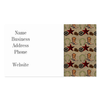 Wild West Cowboy Country Western on Burlap Pattern Double-Sided Standard Business Cards (Pack Of 100)