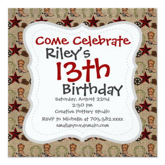 Wild West Cowboy Country Western on Burlap Pattern Invitations