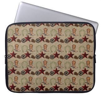 Wild West Cowboy Country Western on Burlap Pattern Computer Sleeves