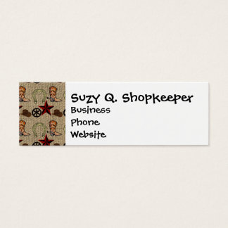 Wild West Cowboy Country Western on Burlap Pattern Mini Business Card