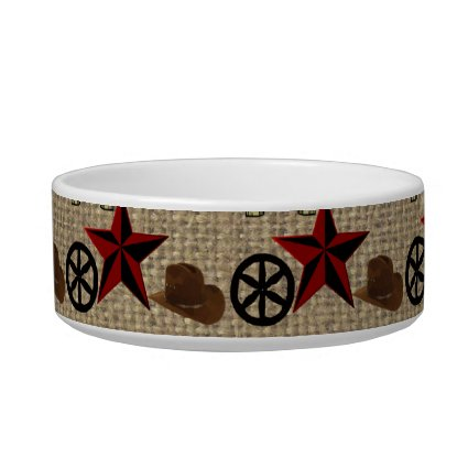 Wild West Cowboy Country Western on Burlap Pattern Pet Water Bowl
