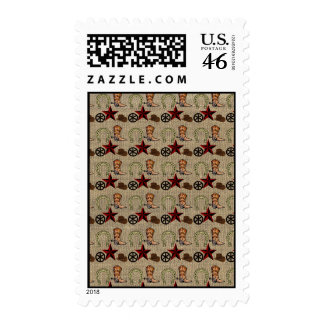 Wild West Cowboy Country Western on Burlap Pattern Postage