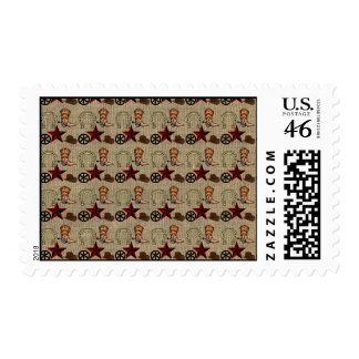 Wild West Cowboy Country Western on Burlap Pattern Postage Stamps