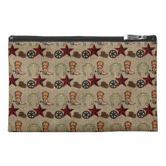 Wild West Cowboy Country Western on Burlap Pattern Travel Accessory Bag