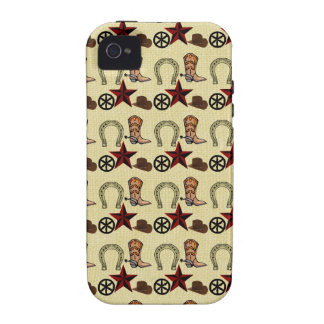 Wild West Cowboy Country Western on Burlap Print iPhone 4/4S Covers
