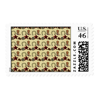 Wild West Cowboy Country Western on Burlap Print Postage Stamp