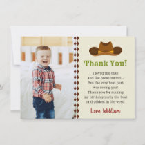 Wild West Cowboy Rodeo Kids Boys Birthday Party Thank You Card