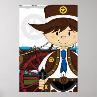 Wild West Cowboy Sheriff Poster Print