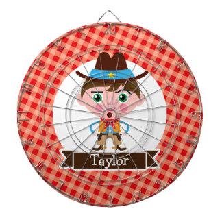 Wild West Cowboy Sheriff, Red Gingham Kid's Dart Boards