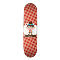 Wild West Cowboy Sheriff, Red Gingham Kid's Skateboard