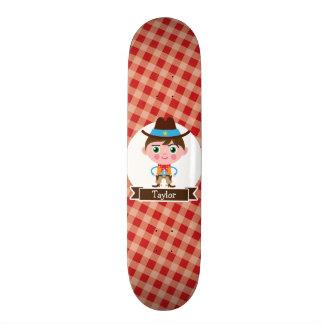 Wild West Cowboy Sheriff, Red Gingham Kid's Skateboard
