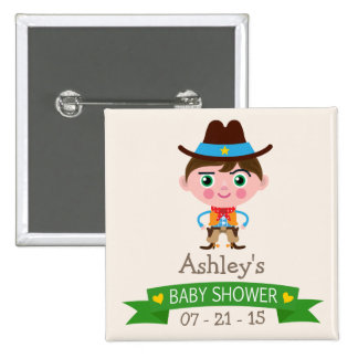 Wild West Cowboy Theme Baby Shower 2 Inch Square Button