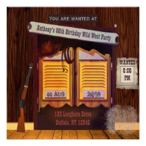 Wild West Cowboy Themed Party add photo invitation Card