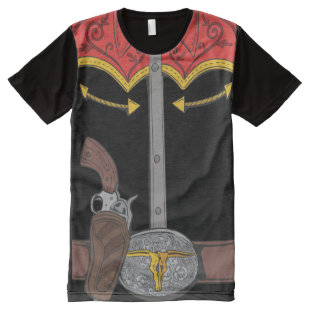Wild West Gunslinger Western Funny Graphics Gun All-Over-Print T-Shirt