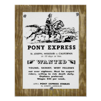 Wild West Pony Express Riders Poster