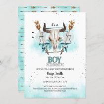 Wild West | Rustic Skull & Arrows Boy Baby Shower Invitation