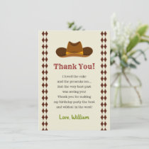 Wild West Saloon Cowboy Birthday Party Boys Kids Thank You Card