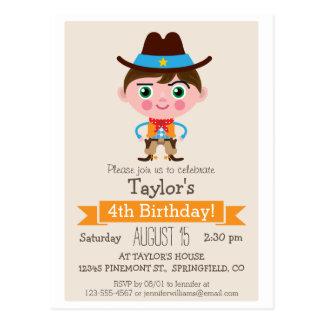 Wild West Sheriff Boy Birthday Party Invitation Postcard