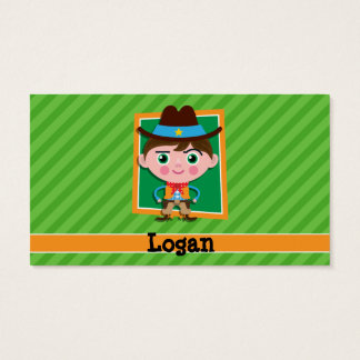 Wild West Sheriff Cowboy on Green Stripes Business Card