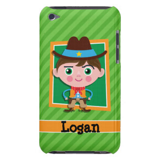 Wild West Sheriff Cowboy on Green Stripes Barely There iPod Cases