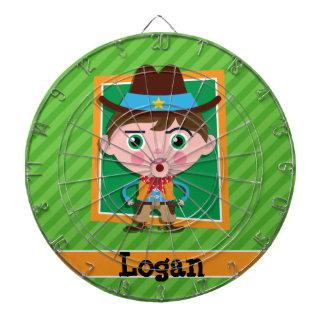 Wild West Sheriff Cowboy on Green Stripes Dart Board