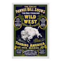 Wild West Show, 1903. Vintage Western Advertising Poster