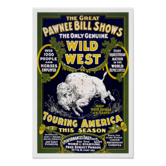 Wild West Show, 1903. Vintage Western Advertising Poster