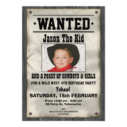 Personalized Wanted Invitations – Wild West Birthday Invitations
