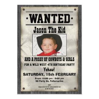 Wild West Wanted Poster Birthday Invitation 11 Cm X 16 Cm Invitation Card