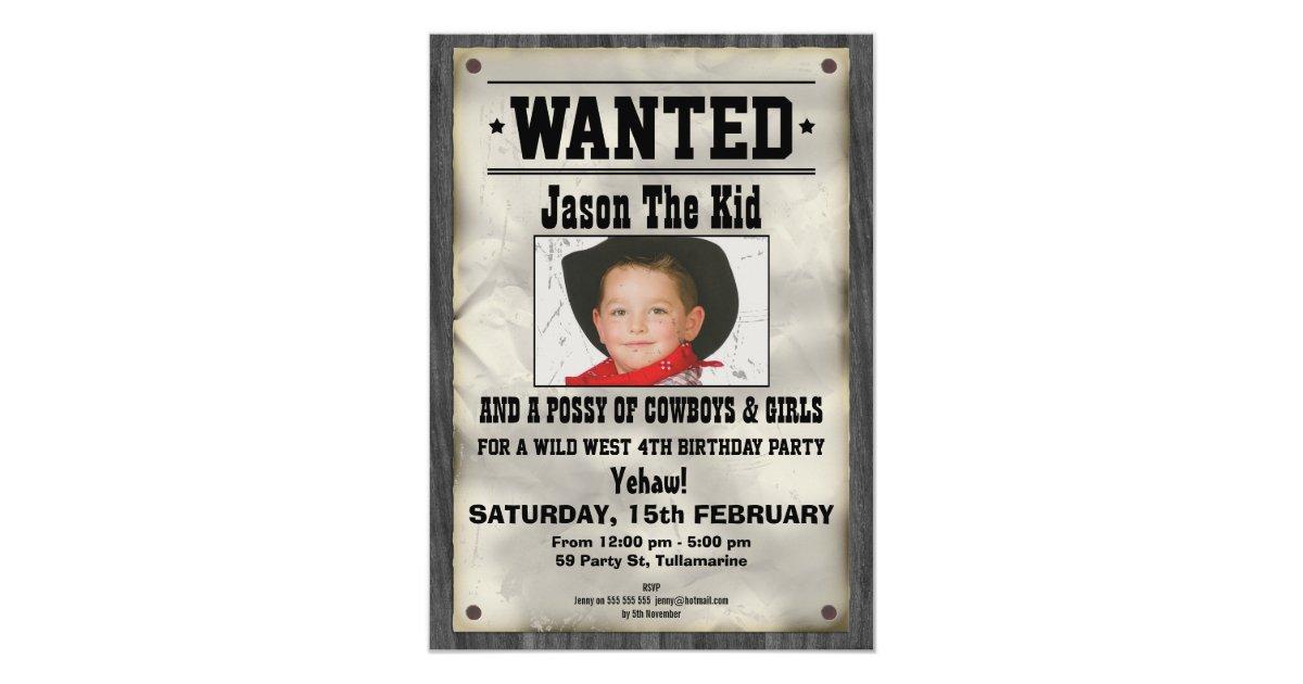Wild West Wanted Poster Birthday Invitation | Zazzle.com