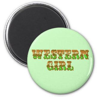 Wild West Western Girl Orange & Green Cowgirl Magnet